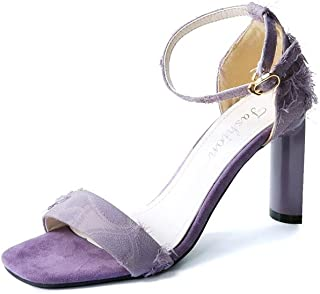 GLJJQMY Solid Color Women's Shoes with High Heels Slippers Sandals Elegant and Comfortable 9 cm High Women's Sandals (Color : Purple, Size : EU 38/UK5.5/CN38)