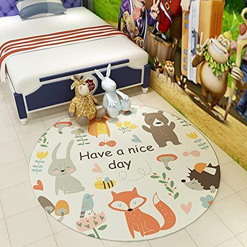 SunYe Alfombra De Impresión De Dibujos Animados De León Oso Conejo Impermeable Antideslizante Tapete Lavable Tapete Redondo para Mesa De Café Adecuado para La Habitación De Los Niños Ventana