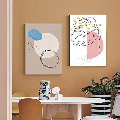 Color Resumeno Bloque de línea Póster Artístico Sol y luna Arte de la pared Lienzo Pintura Hojas Impresiones Imagen de la pared para la sala de estar Decoraciónación del hogar/40x60cmx2 Sin marco