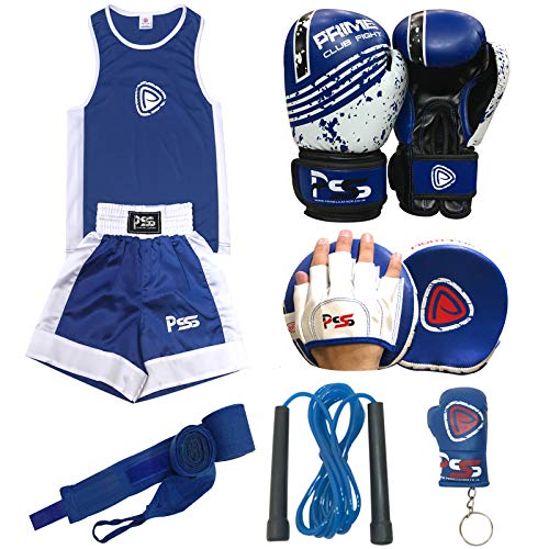Prime Leather Kinder-Box-Set, 6-teilig, Uniform, Top/Short 3–10 Jahre, inkl. Fokus-Pad 1108 blau, Kinder-Boxhandschuhe 1004 blau, 113 g, Wickeltuch + Schlüsselanhänger + Springseil (1108 blau, 7–8)