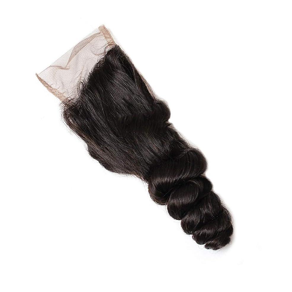 パッケージ安価な不健康BOBIDYEE 4×4レース前頭閉鎖緩い波耳に耳前頭9aブラジル毛延長ロールプレイングかつら女性の自然なかつら (色 : 黒, サイズ : 14 inch)