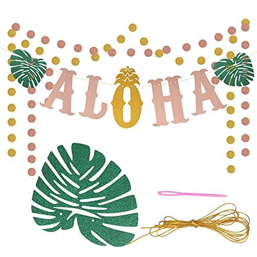 LOPOTIN ALOHA Bandera, Adorno Fiesta Playa, Artículos Hawaianos Verano, Decoración Tropical Hawai para Jardín Playa Restaurante Fiestas Hawainas Ornamente Carta Redonda Colgante Pared Oro Brillante.