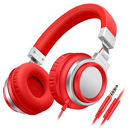 Sound Intone I8 Bass - Cuffie stereo con microfono, auricolari regolabili on-ear per iPhone / iPad / iPod / smartphone Android