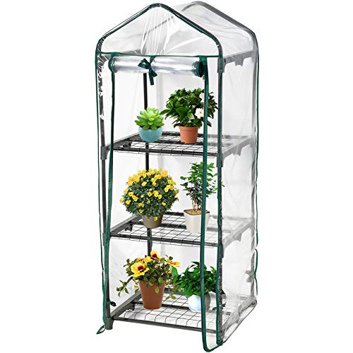 DAWOO Mini Greenhouse, Small Plant Greenhouses, Portable Garden Green House for Outdoor & Indoor, 51cm(L) x 45cm(W) x 130cm(H) (3-Tier)