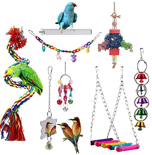 Bird Toys Bird Parrot Swing Toy Pet Bird Cage Hammock Swing Toy Hanging Bell Beaks Toy for Small Budgie 8 pcs