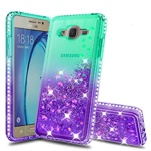 Atump Galaxy On5 Case (G550 G5500) Case Girly Cases with HD Screen Protector, Fun Glitter Liquid Sparkle Diamond Cute TPU Silicone Protective Phone Cover Case for Samsung Galaxy On5 Green/Purple