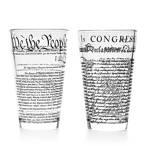 Greenline Goods – United States Constitution & Declaration of Independence Glasses (Set of 2) | 16 oz Drinking Glasses - American US Patriotic Gift Set | Beer Glasses