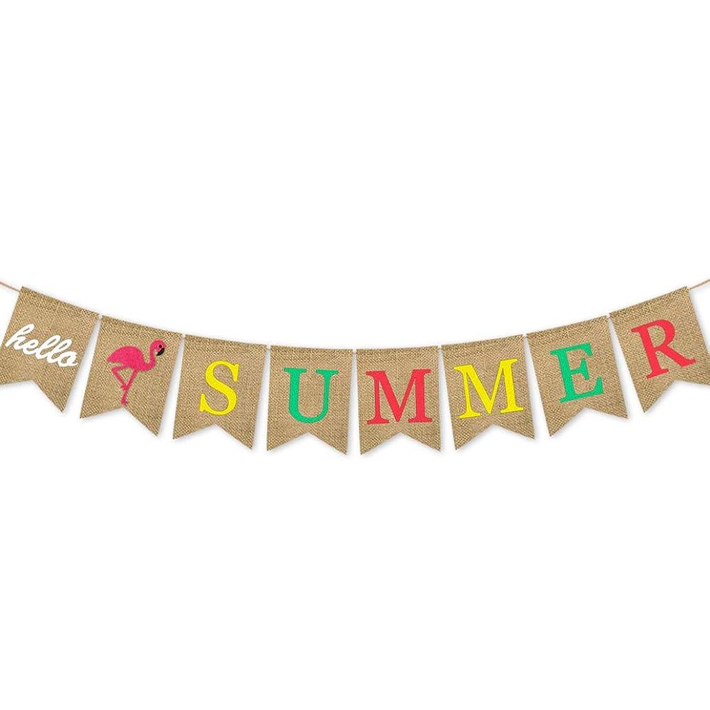 INNORU Burlap Hello Summer Banner ,Flamingo Sign, Hawaiian Luau Themed Supplies Decoration for Kids Birthday Decorations