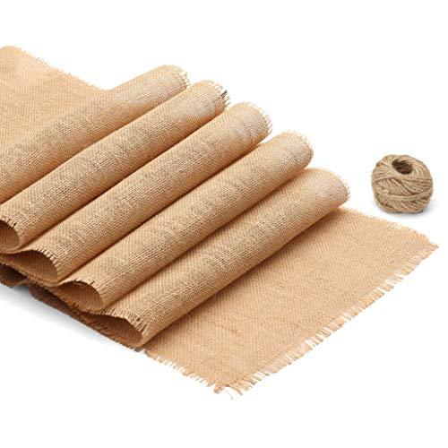 Spoccasio Camino de mesa de arpillera con flecos cortos, 12 x 108 pulgadas, camino de arpillera, hecho de yute marrón natural para decoración rústica de mesas de boda   decoración de mesa de cocina de verano de granja