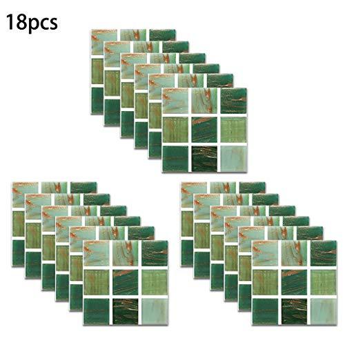 Luluspace Fliesenaufkleber Fliesenfolie Grün- Hochwertige Aufkleber Sticker Für Fliesen I Stickerfliesen - Fliesenaufkleber Für Küche, Bad, WC