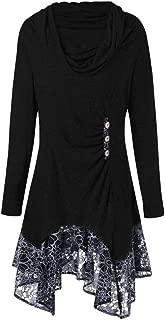 KINDOYO Women's Long Shirt - Women Turtleneck Asymmetric Long Sleeve Top Cowl Neck Splicing Shirt Blouse