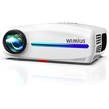 WiMiUS プロジェクター 高輝度 7000lm フルHD 1920*1080P リフル解像度 4K対応 ±50°台形補正 (上下左右) 高コントラスト 7000:1 ズーム機能 2つのスピーカー内蔵 ホームシアター USB/HDMI/AV/VGA対応 SWITCH/パソコン/IOS/Android/DVDなど接続可能 日本語取扱書付き (ホワイト)
