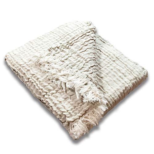 Craft Story Decke Marisa I 220 x 240 cm I Natur I 100% Baumwoll-Musselin-Decke I Gauze 3-lagig I Wrinkle-Decke I Stonewashed I Wohndecke I Überwurf I Plaid I Tagesdecke