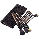 Set de brochas de maquillaje 10 juego completo de herramientas de belleza para el cabello, pelo, pony, cepillo, marrón 10