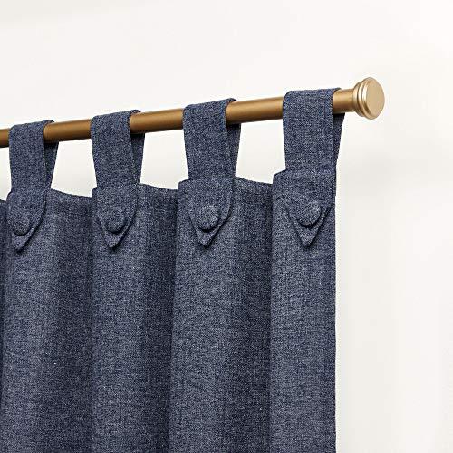 Nicole Miller Peterson光过滤燕尾服标签顶部窗帘面板,54x96,靛蓝色