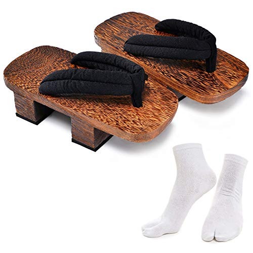 Japanese Wooden Clogs Sandals Japan Traditional Shoes Geta with Tabi Socks, Brown&black, US 10