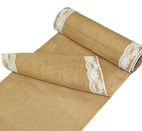 COTTON CRAFT - 2 Pack - Jute Burlap with Lace Table Runner - 12 in. x 108 in. Each - 6 Yards Total - Rustic Hessian - Overlocked Edges - for Weddings, Home Dcor & Crafts