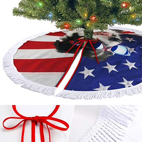 ODOKAY 48 Inch Large Christmas Tree Skirt Holiday Decor for Festive Ornament 30 Inches Xmas Tree Mat Border Collie USA Flag