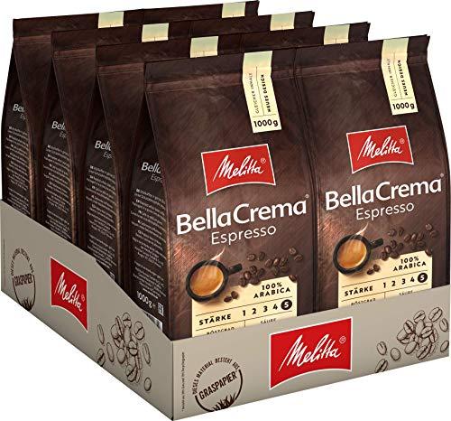 Melitta Ganze Kaffeebohnen, 100{e15de69fe0df6dba1c10569475b1a5459fef5a16caae69f0d9808026decb6ca1} Arabica, kräftig-würziger Geschmack, Stärke 5, BellaCrema Espresso, 8 x 1kg