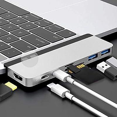"HyperDrive USB C Hub Best Mac Type-C Dual Hub Adapter for MacBook Pro 2020 2019 13"" 15"" 16"" & MacBook Air iPad Pro USB-C Devices 7in2 USBC PD 100W 40Gbps 4K HDMI microSD/SD Card Reader USB 3.1 Sliver"