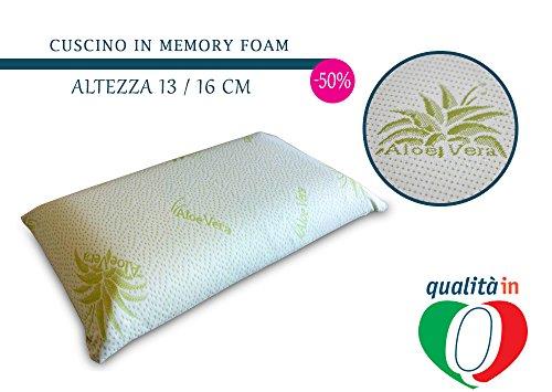 InMaterassi Cuscino Nature in memory foam, 100% italiano, traspirante e antiacaro, alto 13cm