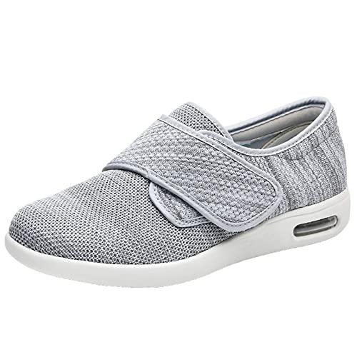 Zapatos diabéticos para mujer, de ajuste ancho, antideslizantes, resistentes al desgaste, edema para pies hinchados, fascitis plantar de edad avanzada, Gray, 38.5 EU