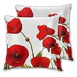 Juego de 2 fundas de almohada cuadradas con diseño de amapola roja, flores coloridas y abstractas blancas, fundas de cojín decorativas para dormitorio, sofá, sala de estar, 45,7 x 45,7 cm