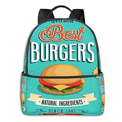 Sac à Dos Loisir De Fille Garçon, Frites de Hamburgers de Nourriture Imperméable à La De Sport Décontracté Sac à Dos pour Ordinateur Portable