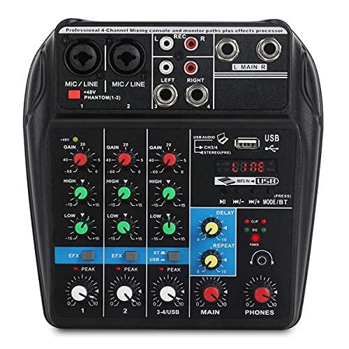 LLTFFFHM Consola de Mezcla Tarjeta de Sonido Compacta Mezclador de Audio Digital Entrada de 4 Canales BT MP3 USB + 48V Potencia Fantasma para Grabación de Música Red de DJ