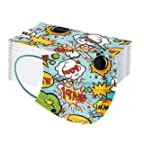 50 Stück Kinder Mundschutz Einweg 3D Druck Mund und Nasenschutz Halstuch Masken Cartoon Motiv 3-lagig Einmal Mund-Tuch Staubdicht Atmungsaktiv Tücher Bandana Schals für Jungen Mädc (O, Farbig)