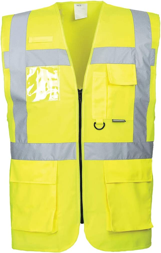 Portwest US476YERM Regular Fit Berlin Executive Vest, Medium, Yellow