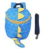 Sac à dos pour tout-petit avec harnais de sécurité, laisse anti-perte de sac d'école de dinosaure mignon pour enfants pour garçons et filles(Bleu clair)