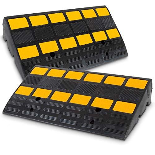 PYLE Car Vehicle Curbside Driveway Ramp-2PC Heavy Duty Rubber Threshold Bridge Track Curb Ramp, For Loading Dock, Garage, Sidewalk, Truck, Scooter, Bike, Motorcycle, Wheelchair Mobility-Pyle PCRBDR44