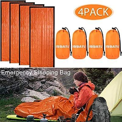 DIBBATU Emergency Survival Sleeping Bag, Thermal Bivy Sack Blanket, Waterproof Lightweight, Mylar Portable Nylon Sack for Camping Hiking Outdoor Adventure Activities (4 Pack)