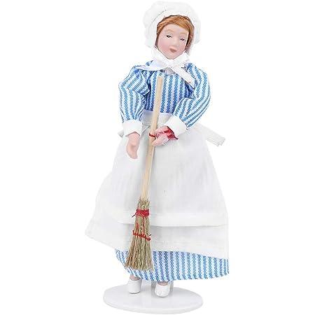 Puppenhaus Miniatur Puppe Figur Porzellan Menschen kleines Mädchen weißes