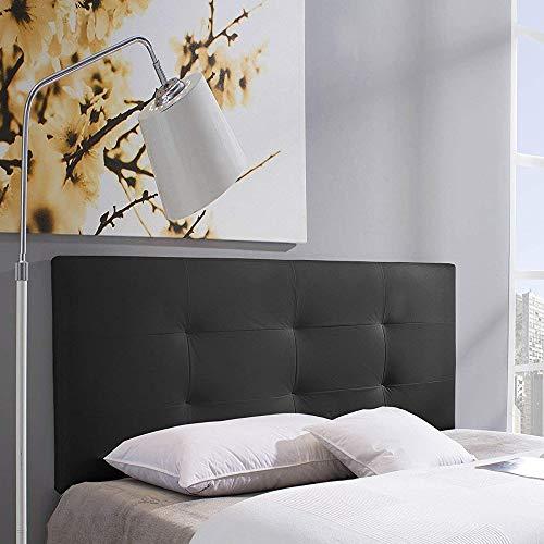 Cabecero tapizado Carla 140X60 cm Negro, para Cama de 135 cm, Acolchado con Espuma, 8 cm de Grosor, Incluye herrajes para Colgar