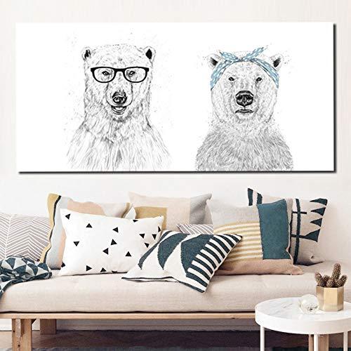 ganlanshu Nordische minimalistische Tiermalerei an der Wand, Löwenplakat und Drucke, Schwarzweiss-Skizzenwandkunst-Leinwand,Rahmenlose Malerei,30x60cm