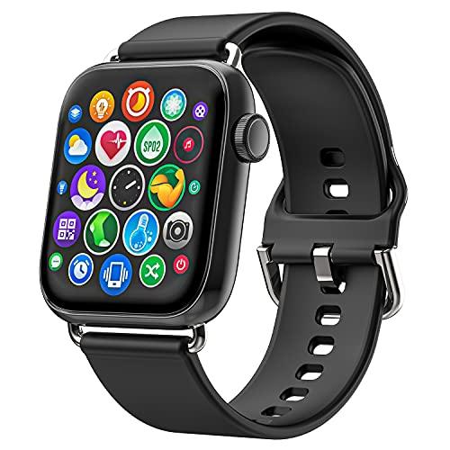 Smartwatch für Damen Herren, Ezanaki 1.69 Zoll Armbanduhr mit Fitness Tracker, Schrittzähler, Pulsuhr, Blutsauerstoffsättigung und Schlafmonitor, 5ATM Wasserdicht Smart Watch für iOS Android (Black)