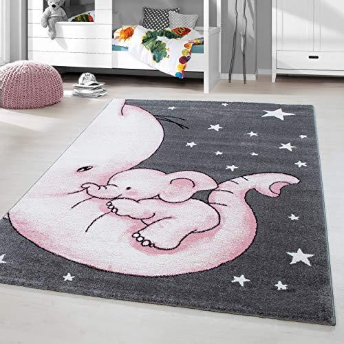 HomebyHome Kinderteppich Kurzflor Elefanten Mama Kinderzimmer Babyzimmer Grau Pink Meliert, Grösse:160 cm Rund