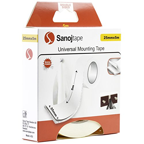 Sanojtape Schaumstoff Tape weiß Universal Doppelseitig 25mm x 5m