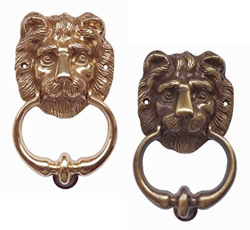 Massiver Löwen-Türklopfer-Messing poliert oder brüniert-Löwe Klopfer -145 x 80 mm (401-2 Messing brüniert)