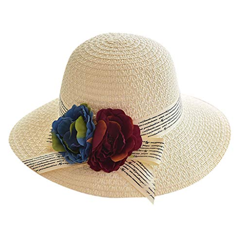 Leedy - Sombrero de paja para mujer, plegable, casual, ancho, con ganchillo, protección solar, protección UV UPF 50