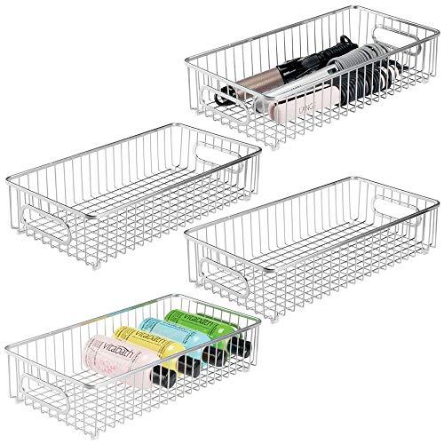 mDesign Set of 4 Storage Basket – Wide Metal Wire Basket for Household Storage – Ideal Bedroom and Bathroom Organiser – Chrome
