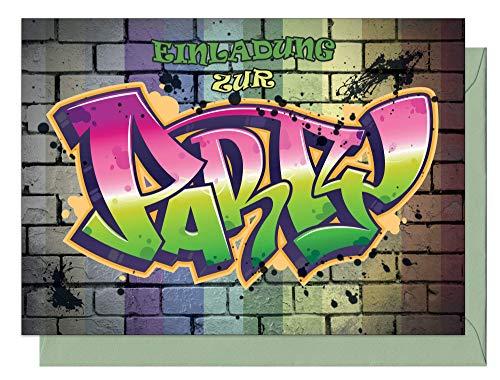 the lazy panda card company 15 Einladungskarten Kindergeburtstag: Graffiti Geburtstagseinladungen Einladungen Geburtstag Kinder Mädchen (15 Karten mit 15 passenden Umschlägen Briefumschlägen)