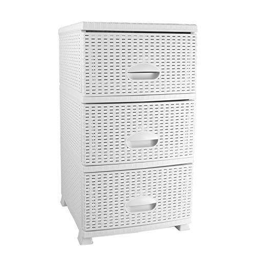MyShop24h commode in rotan-look plank met schuifladen kunststof rotan meubels 3-er wit