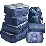 VAGREEZ Packing Cubes Lightweight Travel Luggage Organizers with Laundry Bag or Toiletry Bag (Navy)