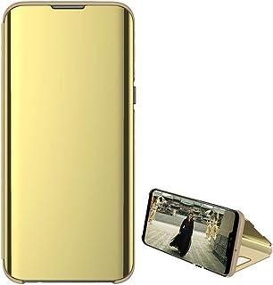 حافظة حماية شفافة برؤية واضحة مطلية بطبقة عاكسة وتصميم قابل للطي لهاتف اوبو ايه 92 من كيس بوكس، لون ذهبي