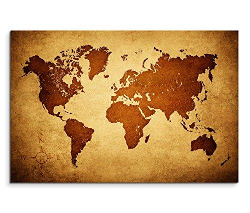 Paul Sinus Art 120x80cm Leinwandbild auf Keilrahmen Weltkarte braun beige Wandbild auf Leinwand als Panorama