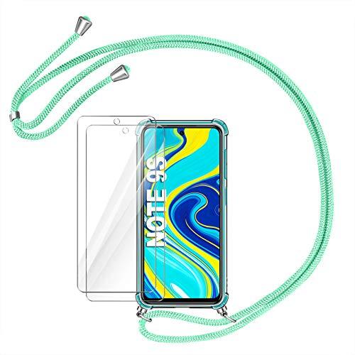 AROYI Funda con Cuerda Compatible con Xiaomi Redmi Note 9S/Note 9 Pro/Note 9 Pro MAX y 2 Unidades Protector Pantalla, Carcasa Transparente TPU Silicona Case con Ajustable Correa Cordón, Verde Menta