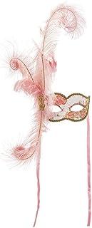 Maschera Veneziana Con Decoro Floreale Dipinto A Mano Rifinito A Colori E Glitter Rosa Con Piume Autentiche E Laccio In Ra...